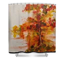 Shower Curtain featuring the painting Double Reflection by Carolyn Rosenberger