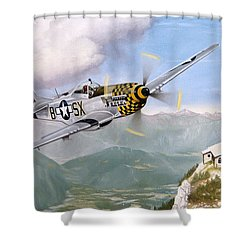 Double Trouble Over The Eagle Shower Curtain by Marc Stewart