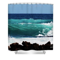 Double Waves Shower Curtain