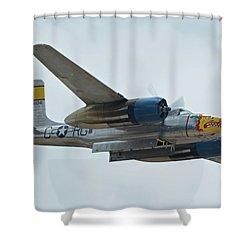 Shower Curtain featuring the photograph Douglas A-26b Invader Nl99420 Silver Dragon Chino California April 30 2016 by Brian Lockett
