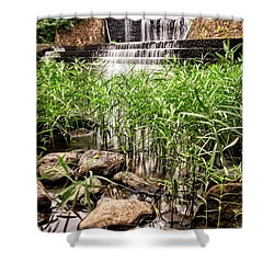Shower Curtain featuring the photograph Douthat Lake Dam by Alan Raasch