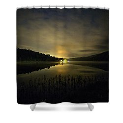 Shower Curtain featuring the photograph Douthat Lake Night by Alan Raasch