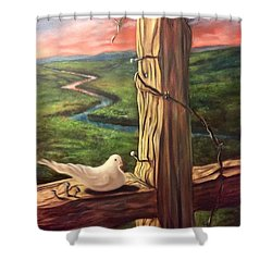 Shower Curtain featuring the painting Dove On A Cross  Paloma  En Una Druz by Randol Burns