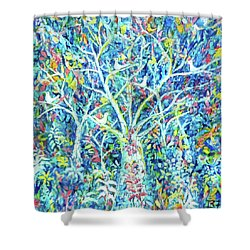 Doves In Trees Shower Curtain