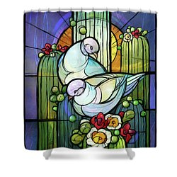 Doves On Saguaro Shower Curtain