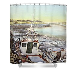 Down By The Docks Shower Curtain by Marty Garland