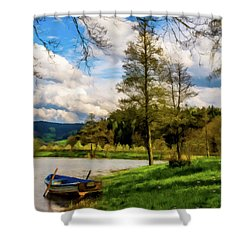 Shower Curtain featuring the photograph Down By The Lake Photodigitalpainting by David Dehner