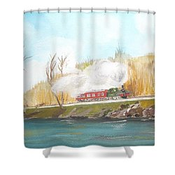 Down By The River Side Shower Curtain by Carole Robins