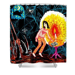 Down In The Cellar Shower Curtain by Sushila Burgess
