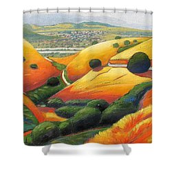 Shower Curtain featuring the painting Down Metcalf Road by Gary Coleman