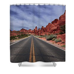 Down The Open Road Shower Curtain