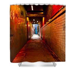 Down The Red Tunnel Shower Curtain by Rae Tucker