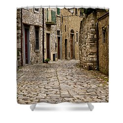 Down The Road In Montefiorella Shower Curtain by Rae Tucker