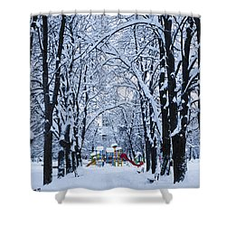 Down To The Park Shower Curtain by Rae Tucker