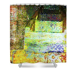 Shower Curtain featuring the mixed media Down by Tony Rubino