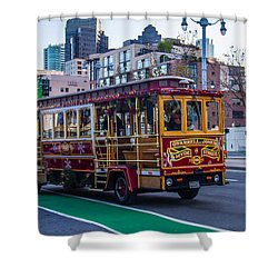 Down Town Trolly Car Shower Curtain by Brian Williamson