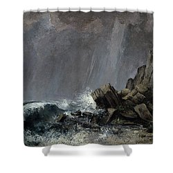 Downpour At Etretat  Shower Curtain by Gustave Courbet