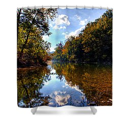 Shower Curtain featuring the photograph Downriver At Ozark Campground by Michael Dougherty