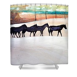 Downs Stables Shower Curtain by Ed Heaton