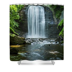 Shower Curtain featuring the photograph Downstream Shade Looking Glass Falls Great Smoky Mountains Art by Reid Callaway