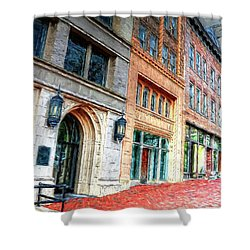 Downtown Asheville City Street Scene II Painted Shower Curtain
