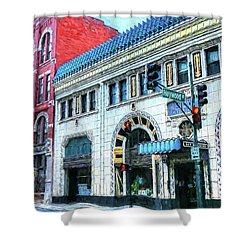 Downtown Asheville City Street Scene Painted  Shower Curtain