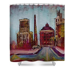 Downtown Asheville Painting Pack Square North Carolina City  Shower Curtain