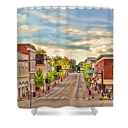 Downtown Blacksburg Shower Curtain by Kerri Farley