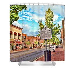 Downtown Blacksburg With Historical Marker Shower Curtain by Kerri Farley
