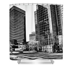 Shower Curtain featuring the photograph Downtown Bubble Reflections by Darcy Michaelchuk