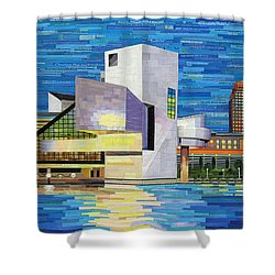 Downtown Cleveland Skyline  Shower Curtain by Shawna Rowe
