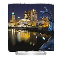Downtown Deer View Columbus Shower Curtain