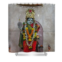 Downtown Ganeshpuri Durga Temple Shower Curtain by Jennifer Mazzucco
