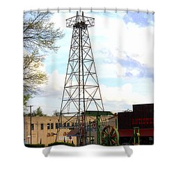 Downtown Gladewater Oil Derrick Shower Curtain