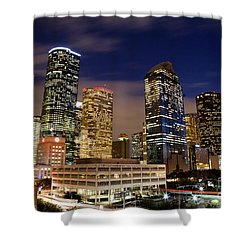 Downtown Houston At Night Shower Curtain by Olivier Steiner