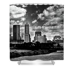 Downtown Indianapolis Skyline Black And White Shower Curtain