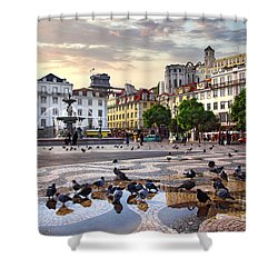 Downtown Lisbon Shower Curtain by Carlos Caetano