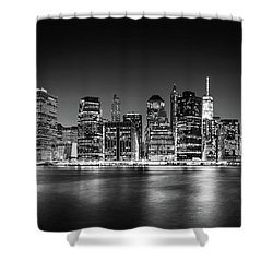 Shower Curtain featuring the photograph Downtown Manhattan Bw by Az Jackson