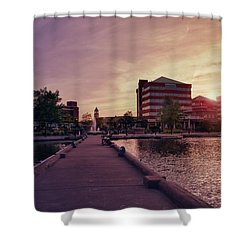 Shower Curtain featuring the photograph Downtown Neenah Sunset by Joel Witmeyer