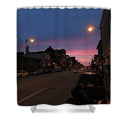 Shower Curtain featuring the photograph Downtown Racine At Dusk by Mark Czerniec