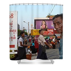 Downtown Rangoon Burma With Curious Man Shower Curtain