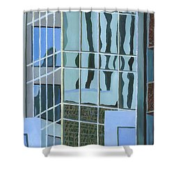 Downtown Reflections Shower Curtain by Alika Kumar