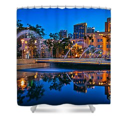 Downtown San Diego Waterfront Park Shower Curtain by Sam Antonio Photography