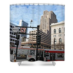 Downtown San Francisco - Market Street Buses Shower Curtain by Matt Harang