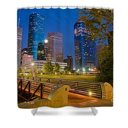 Dowtown Houston By Night Shower Curtain