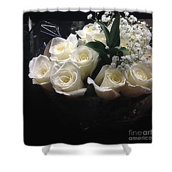 Dozen White Bridal Roses Shower Curtain by Richard W Linford