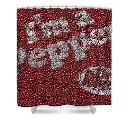 Dr. Pepper Bottle Cap Mosaic Shower Curtain by Paul Van Scott