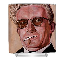 Shower Curtain featuring the painting Dr Strangelove 2 by Tom Roderick