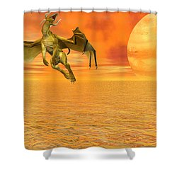 Dragon Against The Orange Sky Shower Curtain