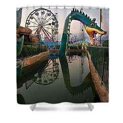 Dragon At Putt  Putt Shower Curtain by Gary Warnimont